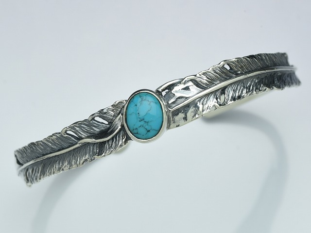 DOUBLE FEATHER BANGLE:with turquoise
