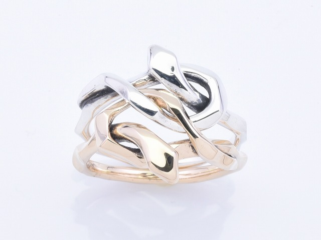 KNOT SNAKE RING DOUBLE:K10コンビ