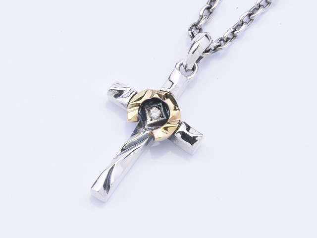 HORSE SHOE CROSS SMALL:with dia (K18コンビ)